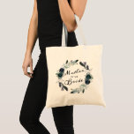 """French Twilight Floral Wreath Mother of the Bride Tote Bag<br><div class=""""desc"""">French Twilight Floral Watercolor Vintage Bohemian Fall or Winter Design with Boho flowers, Feathers, Hand Painted vines, and plenty of colorful navy blue, lavender, purple, silver, dusty grey blue, forest green teal leaves and foliage. With Elegant Hand Lettered Script Fonts, and Chic Wreath frame Mother of the Bride Tote Bag!...</div>"""