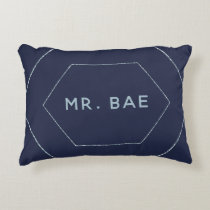 French Twilight Wedding Mr and Mrs Bae Newlywed Accent Pillow