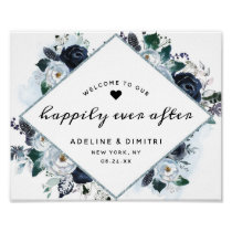 French Twilight Wedding Reception Welcome Sign