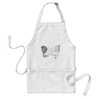 French Typography Butterfly Paris Design Adult Apron