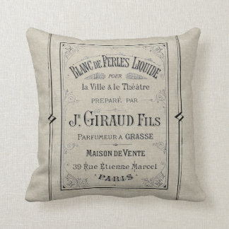 French Typography Perfume Ad Paris France Linen Throw Pillow