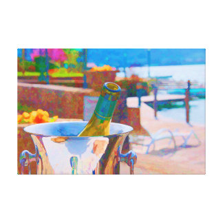 French Vacation - Chardonnay Wine by the Lake Stretched Canvas Prints