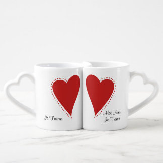 French Valentine Personalized Coffee Mug Set