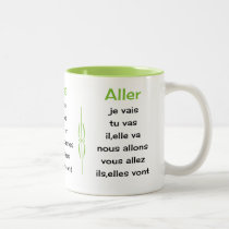 French verbs learn and teach Two-Tone coffee mug