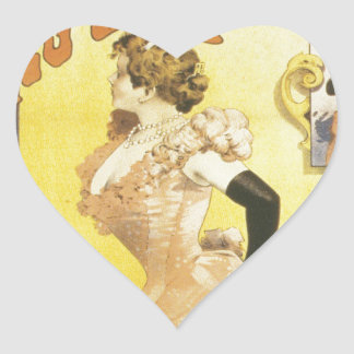 French victorian French cancan Art Nouveau cabaret Heart Sticker