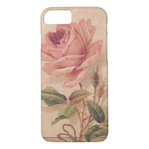 French Victorian Pink Rose Phone Case