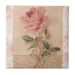 """French Victorian Pink Rose Ceramic Tile<br><div class=""""desc"""">This design comes from a Victorian French birthday card. The Rose is absolutely gorgeous. where possible, I have kept the lace that runs across the bottom. However, if not, the rose is incredible on it&#39;s own. Please feel free to embellish with your favorite thought, initial, name, etc. It&#39;s the perfect...</div>"""