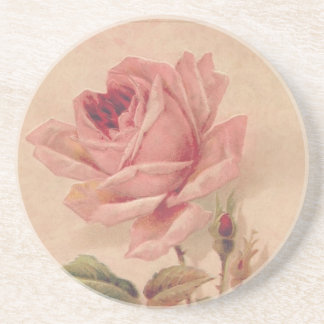 French Victorian Pink Rose Drink Coasters