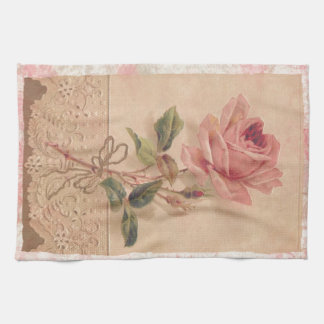 French Victorian Pink Rose Kitchen Towel