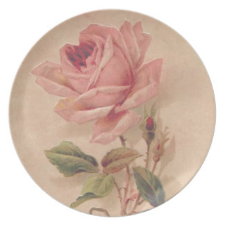 French Victorian Pink Rose Melamine Plate