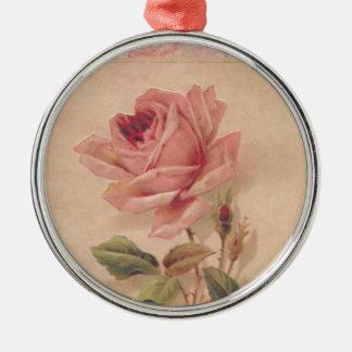 French Victorian Pink Rose Metal Ornament