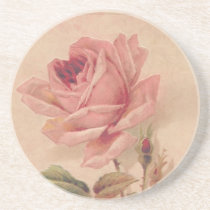 French Victorian Pink Rose Sandstone Coaster