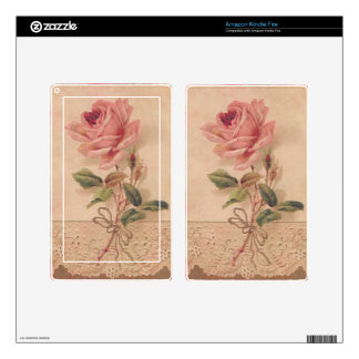 French Victorian Pink Rose Skin For Kindle Fire