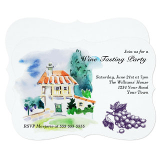 French Villa Wine Tasting Party Card