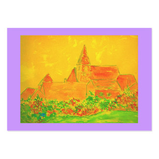 french village watercolour large business cards (Pack of 100)