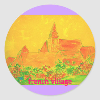 french village watercolour classic round sticker