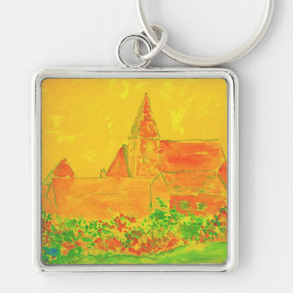 french village watercolour Silver-Colored square keychain