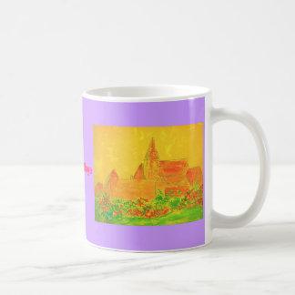 french village watercolour slogan coffee mug