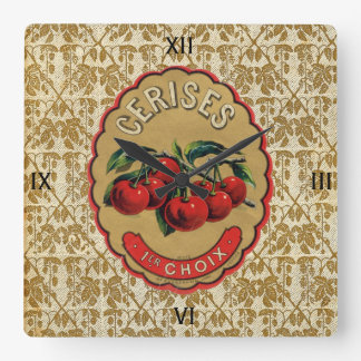 French Vintage Cherries Labeled Clock