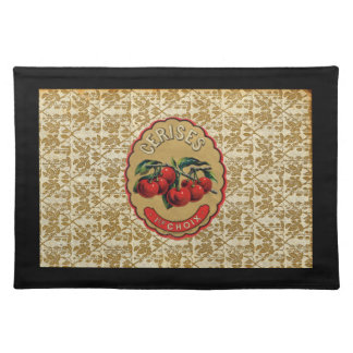 French Vintage Cherries Labeled Cloth Place Mat