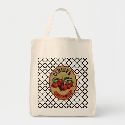 French Vintage Cherries Labeled Grocery Tote Canvas Bags