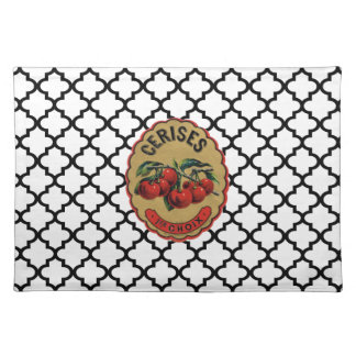 French Vintage Cherries Labeled Placemat