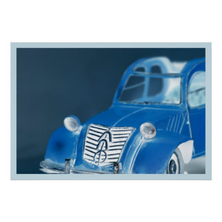 French vintage classic car, color inversion photo  poster