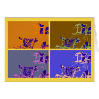French vintage classic car, pop art style card