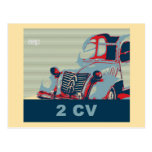 French vintage classic car, pop art style post cards
