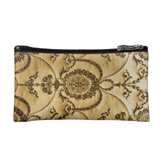 French Vintage Classic Damask Floral Parchment Cosmetic Bag