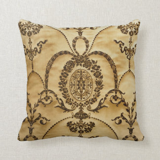 French Vintage Classic Damask Floral Parchment Throw Pillow