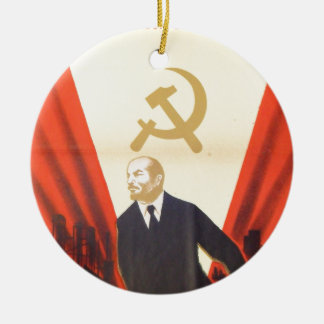 French Vintage Communist Propaganda Ceramic Ornament