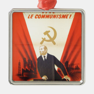 French Vintage Communist Propaganda Metal Ornament