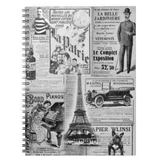 French Vintage Eiffel Spiral Note Books