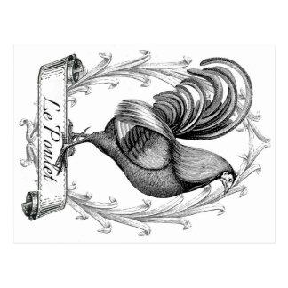 French Vintage Grain Sack Poulet Design Postcard