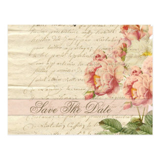 French Vintage Letter and Roses Save The Date Postcard