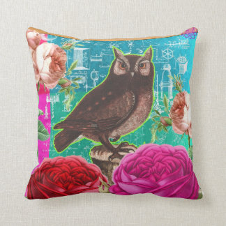 french vintage owl and roses altered art collage throw pillow