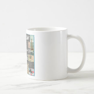 French vintage postcard and stamps collage coffee mug