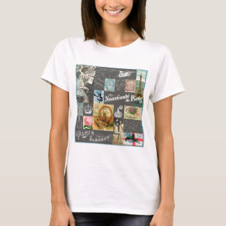 French vintage postcard and stamps collage T-Shirt