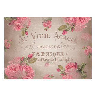 French vintage shabbychic roses pink floral large business card