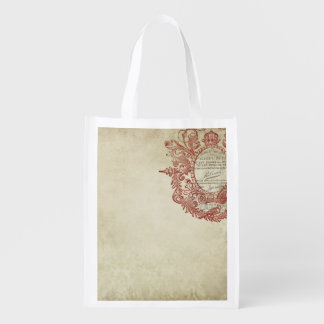 french vintage style stamp reusable grocery bags