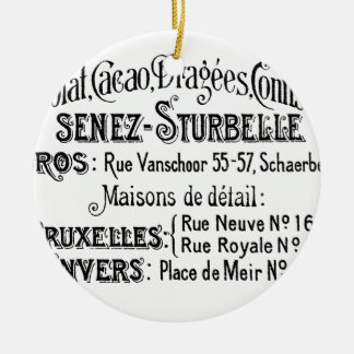 french vintage typography chocolate advert ceramic ornament