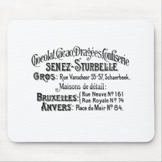 french vintage typography chocolate advert mousepad