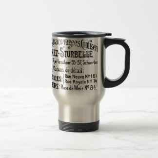 french vintage typography chocolate advert 15 oz stainless steel travel mug