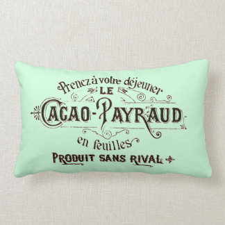 French Vintage Typography Chocolate Advertisement Throw Pillow