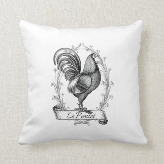 french vintage typography  cushion chicken throw pillow