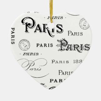 french vintage typography design Paris Ceramic Ornament