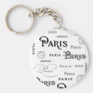 french vintage typography design Paris Keychain