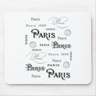 french vintage typography design Paris Mousepad