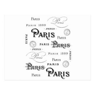 french vintage typography design Paris Postcard
